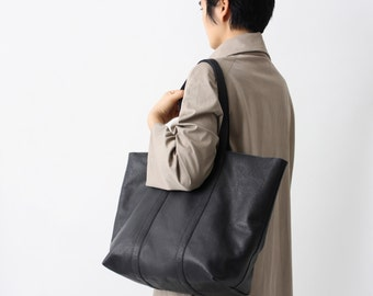 Black Leather Shopper, Large Leather Tote, Big Shoulder Bag, Black Soft Leather with Cotton Lining