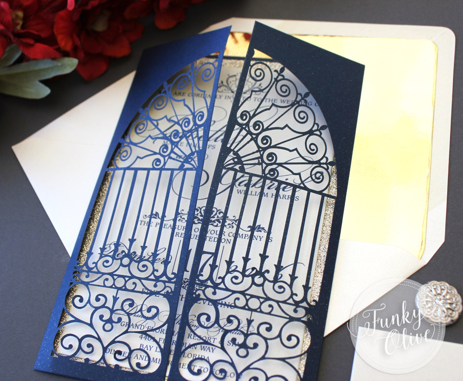 Beauty And The Beast Themed Wedding Invitations: Belle Beauty & The Beast Inspired Wedding Invitations Navy