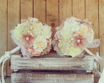 Fabric flowers wedding bouquet, bridal bouquet, blush bouquet, twin bouquet, lace bouquet