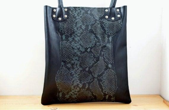 Leather tote,black tote bag,snake tote,black,black leather tote,leather purse bag,black totes,black leather bags,leather totes