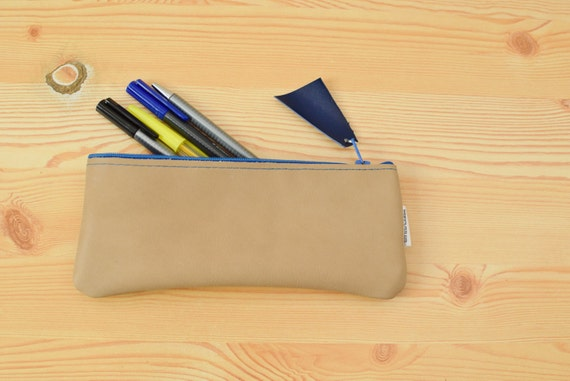 Leather pencil case,leather pencilcase,leather pouch,brown leather,brown pencil case,leather case,leather brown,blue pencil case