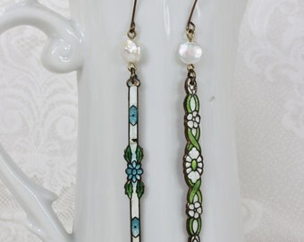 Indecision- Antique French Guilloche Enamel upcycled dangle earrings- Genuine pearls- blue, green, white,