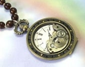 Upcycled OOAK Handmade Large Gold Steampunk Necklace, Industrial Necklace, Steampunk Statement Necklace, watch clock gears parts, unique