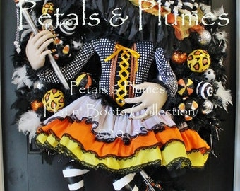 "PRE-ORDER for ""2017""Delivery-Halloween Wreath- The Original ""Flying Candy Corn Witch Wreath"" Petals & Plumes ORIGINAL Design-54"" Tall"