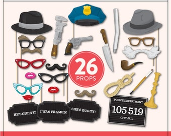 Murder Mystery Props | 26 Full Size Printable Props | Mugshot Sign | Instant Download