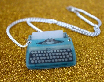 Vintage Typewriter Necklace - Retro Plastic Charm Necklace