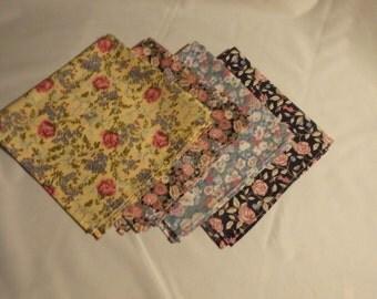 Luncheon Napkins, Cloth Napkins, Floral Napkins, Summer Napkins, Lunchbox Napkins, Garden Party Napkins, Romantic Napkins, Gifts for Her