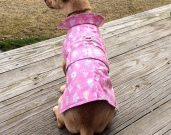 Dog Raincoat, Printed Vinyl, Trench Coat, Small Dog Raincoat