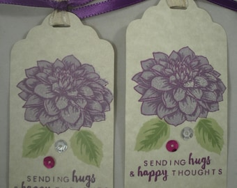 Flower Tags, Handmade Favor Tags, Floral Tag, Hugs Tags, Gift Tag, Birthday Tag, Thank You Tag, Get Well, Birthday, Set of 4, Hugs