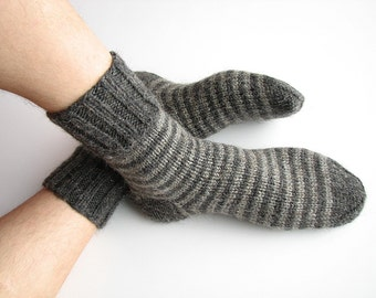 Striped Socks - EU Size 40-42 - Hand Knitted - 100% Natural Wool - Warm Woolen Clothing