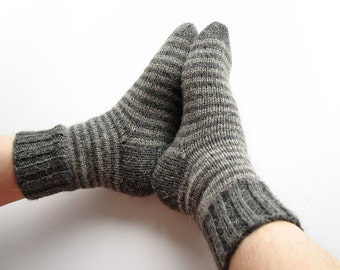 Striped Socks - EU Size 37.5-39 - Hand Knitted Woolen Socks - 100% Natural Wool - Warm Winter, Spring, Autumn Clothing