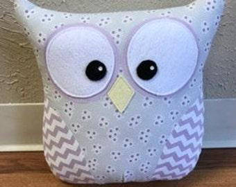 Owl Pillow Light Gray and Purple Chevron