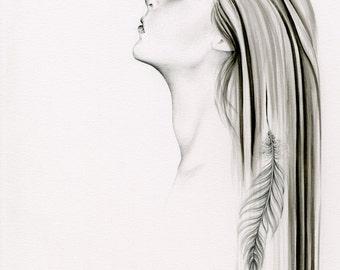 Fine Art Giclee Print of My Original Artwork Pencil Drawing Watercolor Painting Black and White Spiritual Art Print of a Women Girl Art