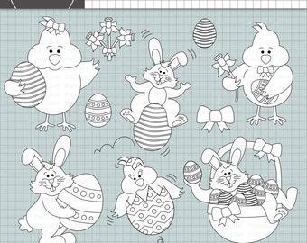 Easter Digital Stamp, Easter Bunny, Easter Egg, Easter Chick, Black Line Clip Art, Clipart, Instant Download, Commercial