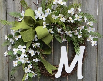 Spring Wreath, Door Wreaths Spring, Dogwood Wreath, Monogram Wreath, Wreath with Letter, Wedding Wreath, Etsy Wreath