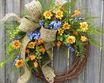 Wildflower Wreaths, Spring Wreaths, Spring Wildflower Wreaths, Spring Designer Wreath, Colorful Spring Summer Wreath, Front Door Wreath
