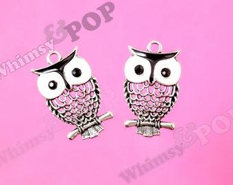 1 - Silver Tone Black White Owl Charm Pendant, Owl Charm, 32mm x 19mm (5-5A)