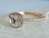 Certified white sapphire, rose gold, diamonds halo engagement ring 2421-ANN