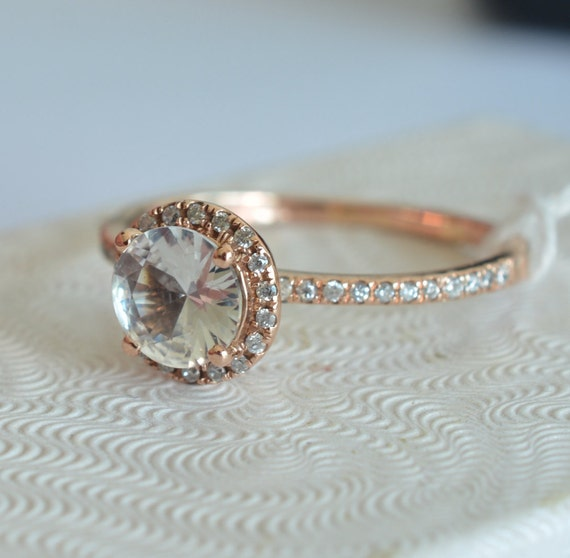 Certified white sapphire, rose gold, diamonds halo engagement ring