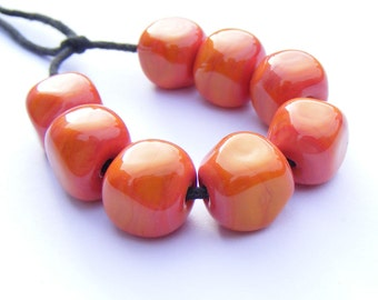 Pumpkin handmade lampwork bead set of 8 orange/coral curvy cube shaped glass beads