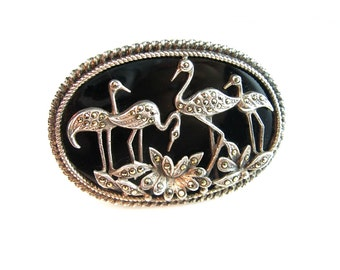 Art Deco Brooch.  Marcasites, Sterling Silver, Black Onyx. Wading Heron Egret Birds, Lotus Flowers. Vintage 1940s Art Deco Jewelry
