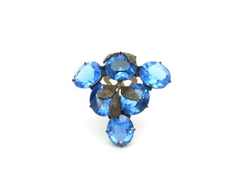 Art Deco Jewelry. Vintage Dress Clip. Crystal Brooch. Czech Glass.  Sapphire Blue Grape Cluster. 1930s Vintage Pin.