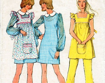 1970s Smock, Mini Dress and Pants Pattern Simplicity 5509 Vintage Sewing Pattern Square Neckline Short Peasant Dress and Trousers Bust 33.5