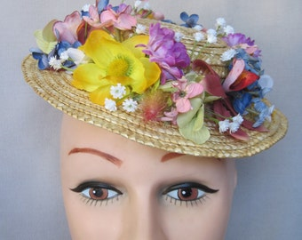 Wreath of Spring n Summer Flowers Around the Fascinator/Hatinator