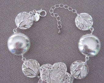 Silver Filigree Open Rose with Florentine Puffed Circle and Tree of Life Pendant Silver Bracelet