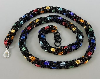 Black & Rainbow Chainmail Necklace, Chainmaille Necklace, Byzantine Weave Chain Mail Jewelry, Gay Pride Necklace, LGBT Jewelry