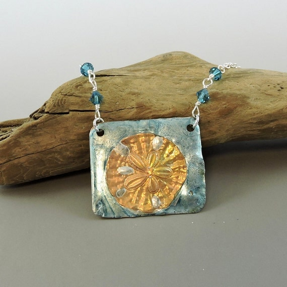 Sand dollar necklace stamped solder pendant by hcjewelrybyrose for How to solder copper jewelry