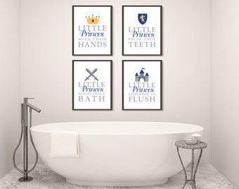 Boy Bathroom Art Prints, Prince Bath Decor, Wall Art, Home Decor