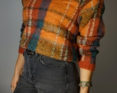 Vintage Plaid Sweater S M Warm Wool Crop Top Boho Hippie Gypsy Mod Club Kid Prep Hipster Maroon Orange Earth Tones Fall Winter Bohemian Folk