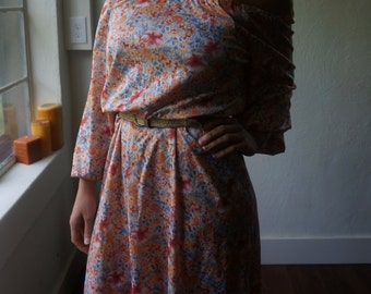Handmade Vintage Maxi Dress S M L Floral Off Shoulder Mod Folk Boho Hippie Gypsy Bohemian Bridesmaid Prairie Peach Pink Flowers Festival