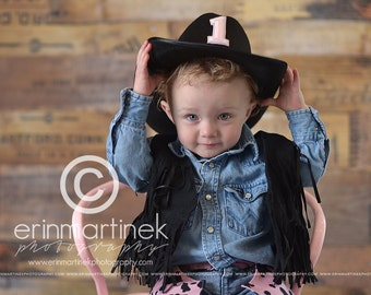 Cowgirl Birthday Outfit Party Set in Pink Cow Hide Pink and Black cow print cow girl outfit
