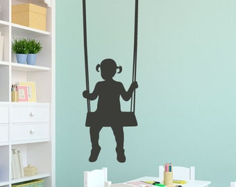 Girl on a Swing - Vinyl Wall Decal - Wall Sticker