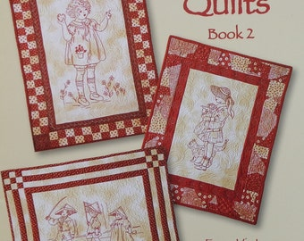 REDWORK QUILTS BOOK 2 By Tricia Cribbs - Redwork Stitchery Embroidery Quilting Pattern Booklet