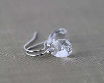 SALE - Crystal Silver Earrings - Sterling Silver Jewelry - Wedding Bridal Jewelry - Bridesmaids Gift - Womens Jewelry Gift for Her