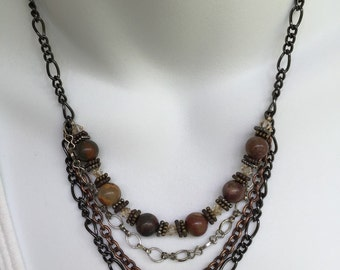 Agate and chain necklace and earring set