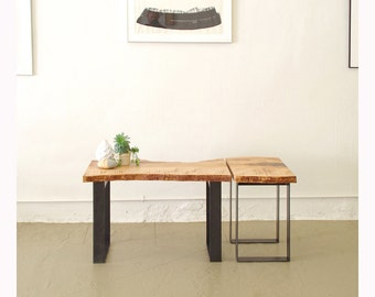 north | west table with floating leaf - from urban salvage live edge maple and recycled content steel - natural edge - coffee table, desk