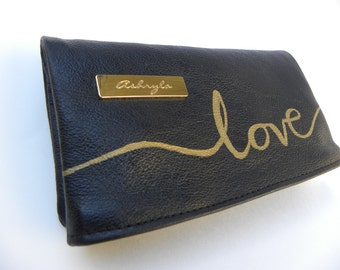 "Black Genuine Leather ""Love"" Handwriting Foldover Clutch Purse"