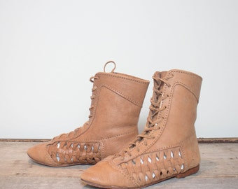 sz 9 | Cut Out Woven Leather Mid Calf Over the Ankle Brown Lace Up Boots