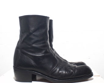 11 D | Vintage 1960's Men's Black Leather Zipper Ankle Boots Beatle Boots