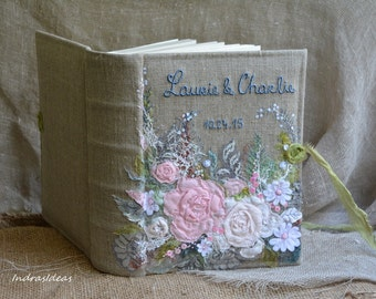 "Personalized photo album | Photo memory book | Embroidered photo memory book | Wedding rustic photo album | Photo Album 300 photos ( 4""x 6"")"