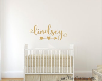 Gold Decor - Gold Wall Decal - Wall Decal Nursery - Monogram Wall Decal, Name Decal - Wall Decals for Girls