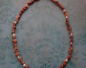 Agate and Freshwater Pearl Necklace