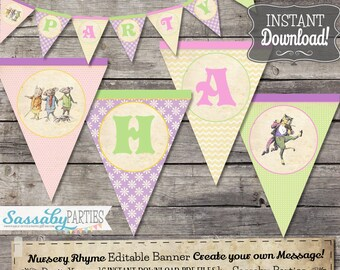 Nursery Rhyme Pastel Party Banner - INSTANT DOWNLOAD - Editable & Printable Birthday Baby Shower Bunting Decor Decoration by Sassaby Parties