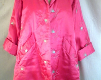 Vintage 1940's Jacket Hot Pink Quilted Rayon Jacket Embroidered Thistle Flowers Hot Pink XL