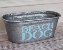 SALE! Beach Dog Storage Bucket, Turquoise
