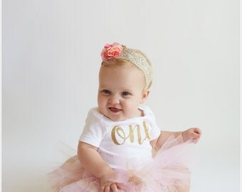 Ready2Ship 1st Birthday 12 Months Bodysuit Outfit Carter's Gold Glitter One Girl's Baby Photos Pictures Party Smash Cake